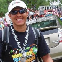 Ric Jimenez after finishing Ironman Wisconsin.