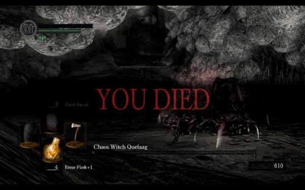 You Have Died quote from Dark Souls.
