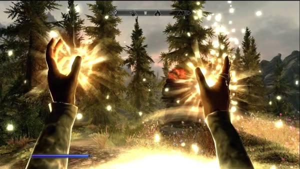 Healing spell in Skyrim in action.