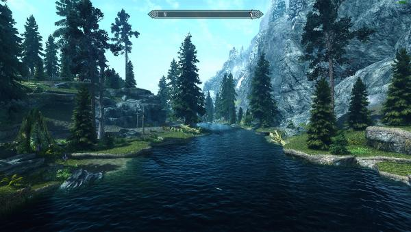 The beautiful landscape of Tamriel as seen in Skyrim.