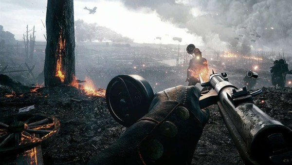Battlefield 1 Screenshot of a burning field