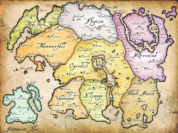 A map of the continent of Tamriel.