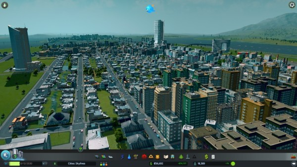A city in Cities: Skylines.
