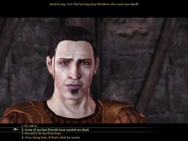 Dragon Age Awakening dialogue box.