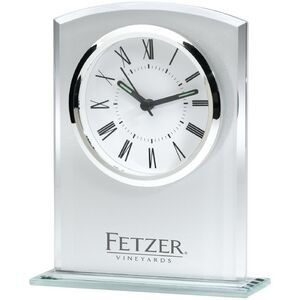 This commemorative clock features a chrome bezel and frosted glass finish, and its attractive design fits in with any décor.