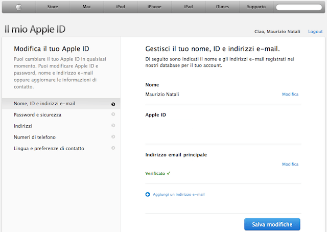 modifica email apple id