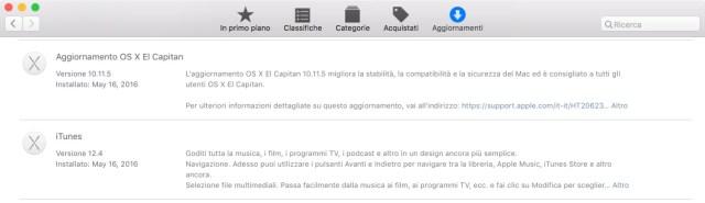 aggiornamento 10.11.5