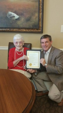 Agnes at The Brennity at Daphne in Memory Care was given a mayoral proclamation for her 101st birthday on Memorial Day!
