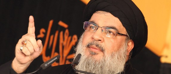 Head of Lebanon's Shiite movement Hezbollah, Hassan Nasrallah, delivers a speech in Beirut's southern suburbs on October 24, 2015, on the tenth day of the mourning period of Muharram, which marks the day of Ashura. Ashura mourns the death of Imam Hussein, a grandson of the Prophet Mohammed, who was killed by armies of the Yazid near Karbala in 680 AD. AFP PHOTO / ANWAR AMRO        (Photo credit should read ANWAR AMRO/AFP/Getty Images)