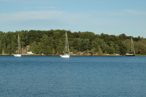 Our three boats anchored at the Club islands, Sea Wolf, Fortune's Favour and Black Diamond.