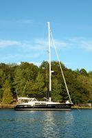 Black Diamond anchored in a bay near Club Island.