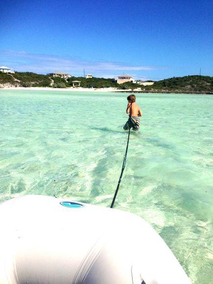 Alex pulling our dinghy