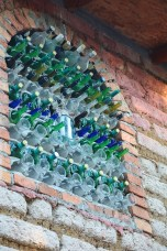 windows made of wine bottles in all cabins