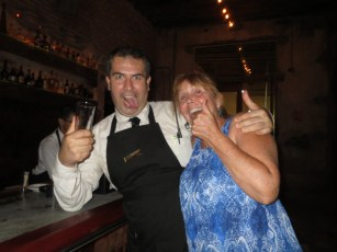 """Donna (on Single D) having fun with a bartender, """"make us a mexican coffee!"""""""