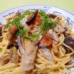 サンマと天然キノコのスパゲティー|きのこ料理