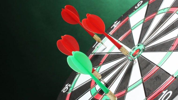 Dart Board Missing Bulls-eye  Missed Sales Goals