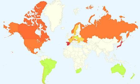 mapa de gripe google flutrends