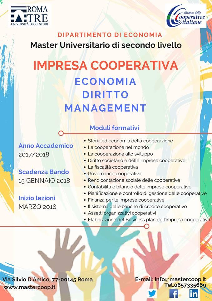 Sono aperte le iscrizioni all'edizione 2017/2018 del Master Impresa Cooperativa: Economia, Diritto e Management Università Roma Tre !!!