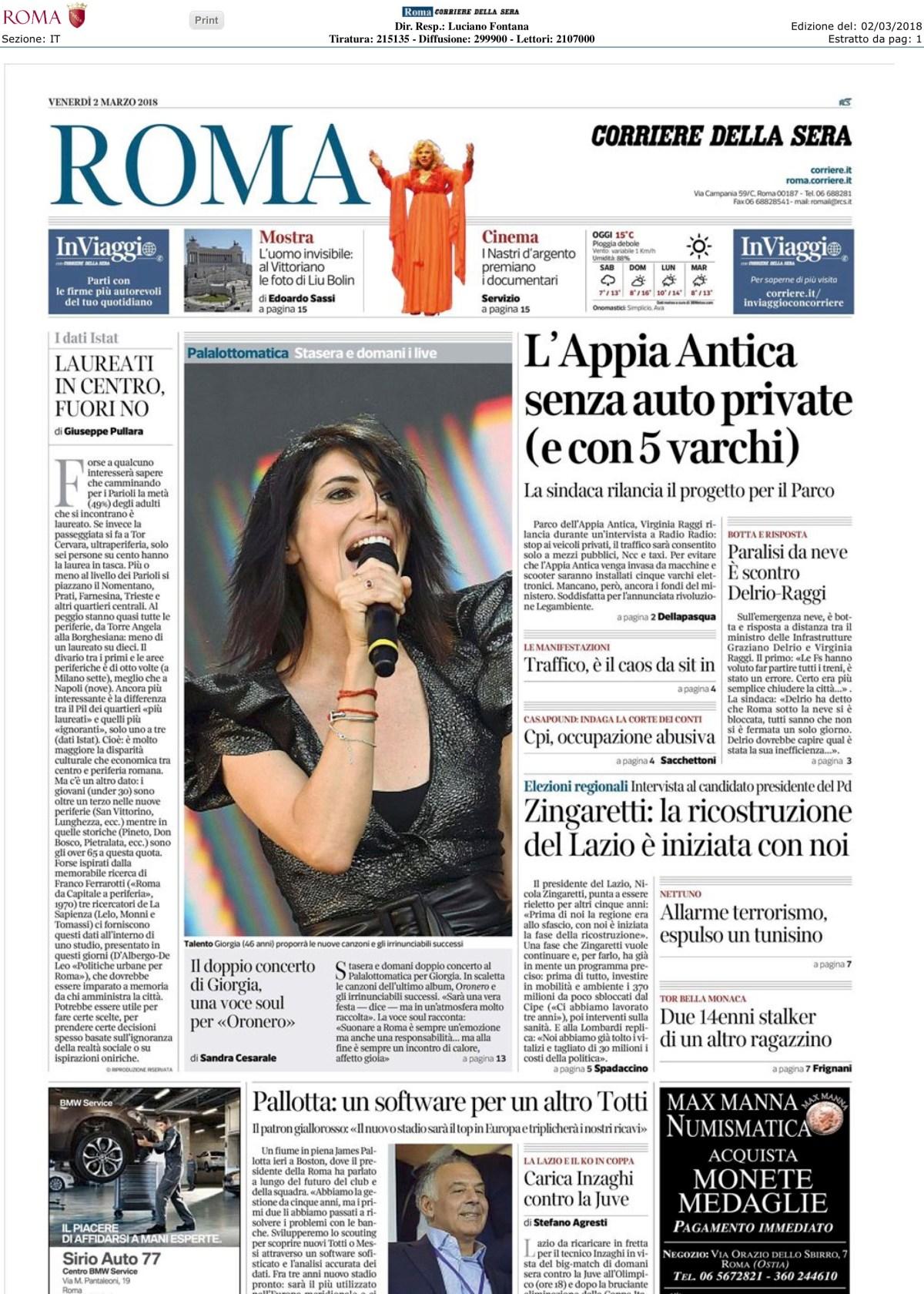 #mapparoma in prima pagina sul Corriere della Sera Roma