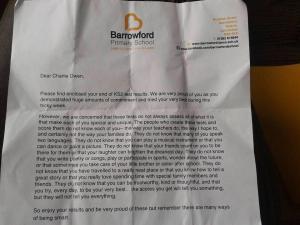 letter sent home