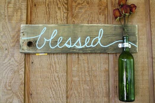 Wine Bottle sign blessed