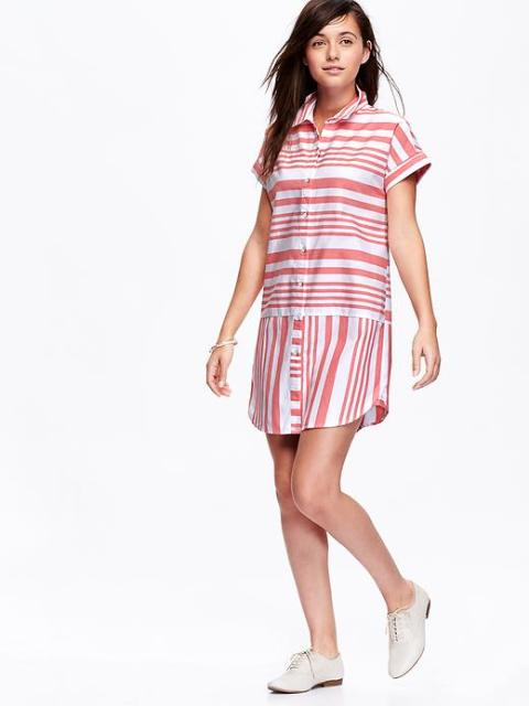 Old Navy Striped Oxford Shirt Dress