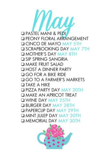 May Checklist