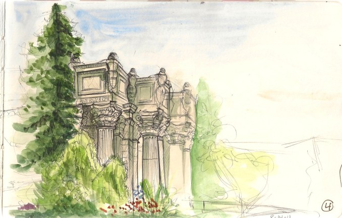 watercolor and ballpoint sketch of the Palace of Fine arts in San Franscisco