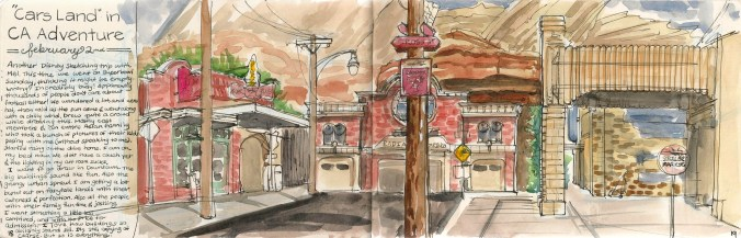 a painting of cars land, disneyland