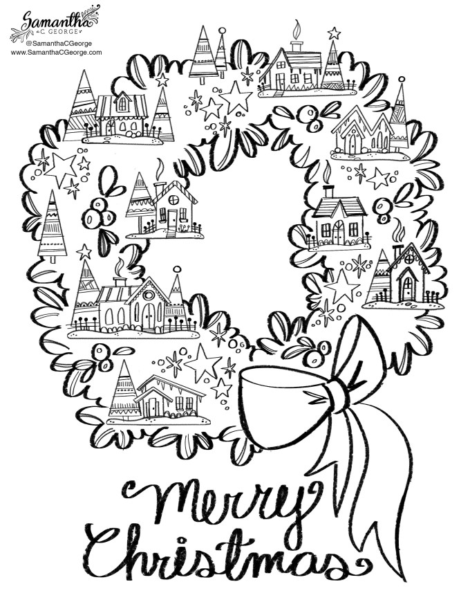Christmas House Free Coloring Page - Samantha C George