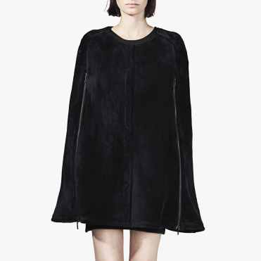 Navy Stretchy Faux Fox Fur Cape by Ardent & Co