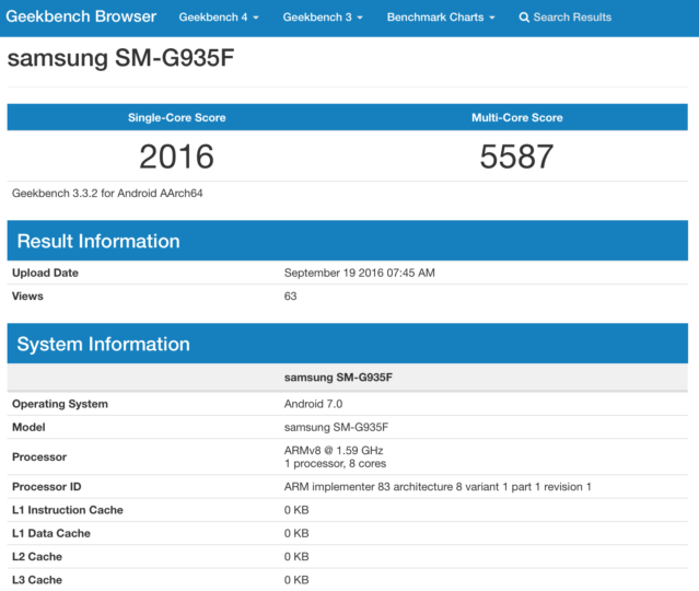 Samsung Galaxy S7 Edge SM-G950F Android 7.0 Nougat Geekbench