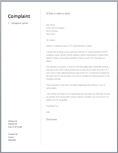 sample complaint letters about verbal abuse Verbal complaint – acknowledgment letter [internal complaints procedure must be enclosed] [enter name] [enter house number] [enter street name] [enter town/city.