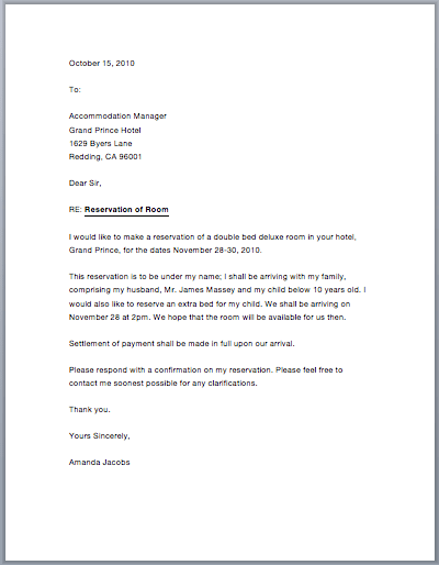 sample hotel reservation letter free sample letters