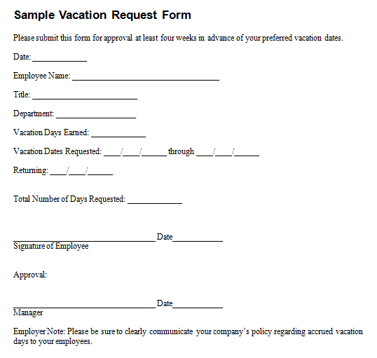 Employee Vacation Request Form Templates | Free Sample Templates