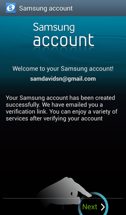 Samsung Account Creation Success