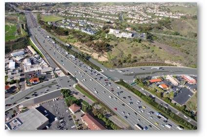 This rendering from the Orange County Transportation Authority shows the proposed final look of the reconstructed Avenida Pico interchange, which includes the widening of Interstate 5. The city and business community are looking for ways to encourage residents to continue to patronize businesses that could be impacted by the construction, set to be completed in 2018.