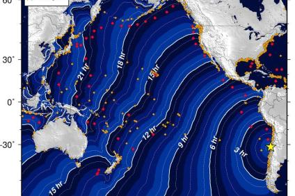 Tsunami travel times. Map courtesy of National Oceanic and Atmospheric Administration, National Tsunami Warning Center