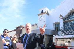 Steve Craig, CEO and President of Craig Realty Group, speaks to people prior to the ribbon cutting at the Outlets at San Clemente. Photo: Eric Heinz