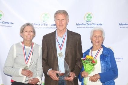 From left to right: Joyce Hoffman, Bob Yoder and Doris Stephens were inducted into the San Clemente Sports Wall of Fame on May 21. Photo: Eric Heinz