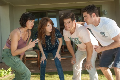 DF-03101 – (From left) Tatiana (Aubrey Plaza) and Alice (Anna Kendrick) get to know their dates, Mike (Adam Devine) and Dave (Zac Efron). Photo Credit: Gemma LaMana.