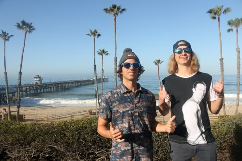 Tom Allen, left, and Spencer Kalendar, who play Chad and Bodhi, respectively, proposed the city should erect a 12-foot, steel statue of the late actor Paul Walker at the end of the Pier. Their plea, which was recorded at a City Council meeting, was posted by the San Clemente Times last week and has reached more than 1 million people. Photo: Eric Heinz