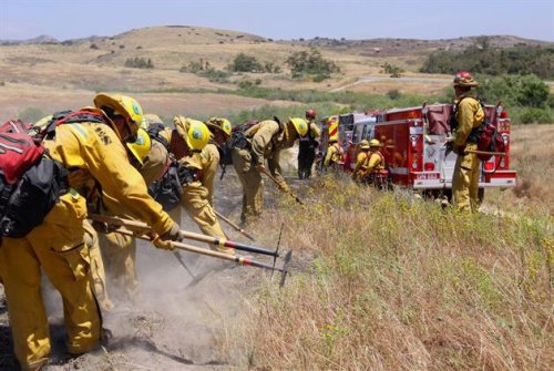 Camp Pendleton firefighters conduct a burn exercise in this undated photo. Photo: Courtesy of Camp Pendleton