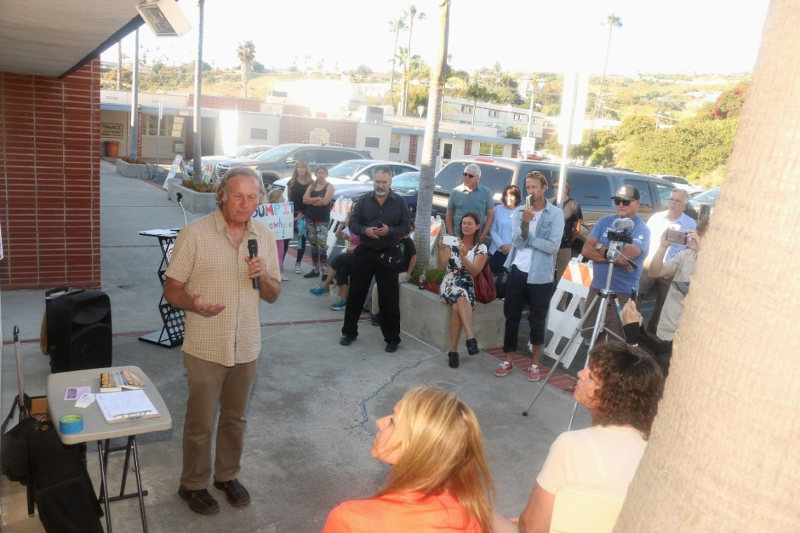 Gary Headrick of San Clemente Green co-hosted a rally prior to the May 2 City Council meeting to implore the city to demand the revocation of the permit allowing SONGS facilitators to store spent nuclear fuel on-site. Photo: Eric Heinz