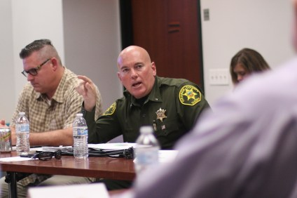 Lt. Mike Peters, Chief of San Clemente Police Services, explains some of the steps his department is taking to address concerns about crime in San Clemente during the first Public Safety Task Force meeting on Friday, July 7.  Photo: Eric Heinz