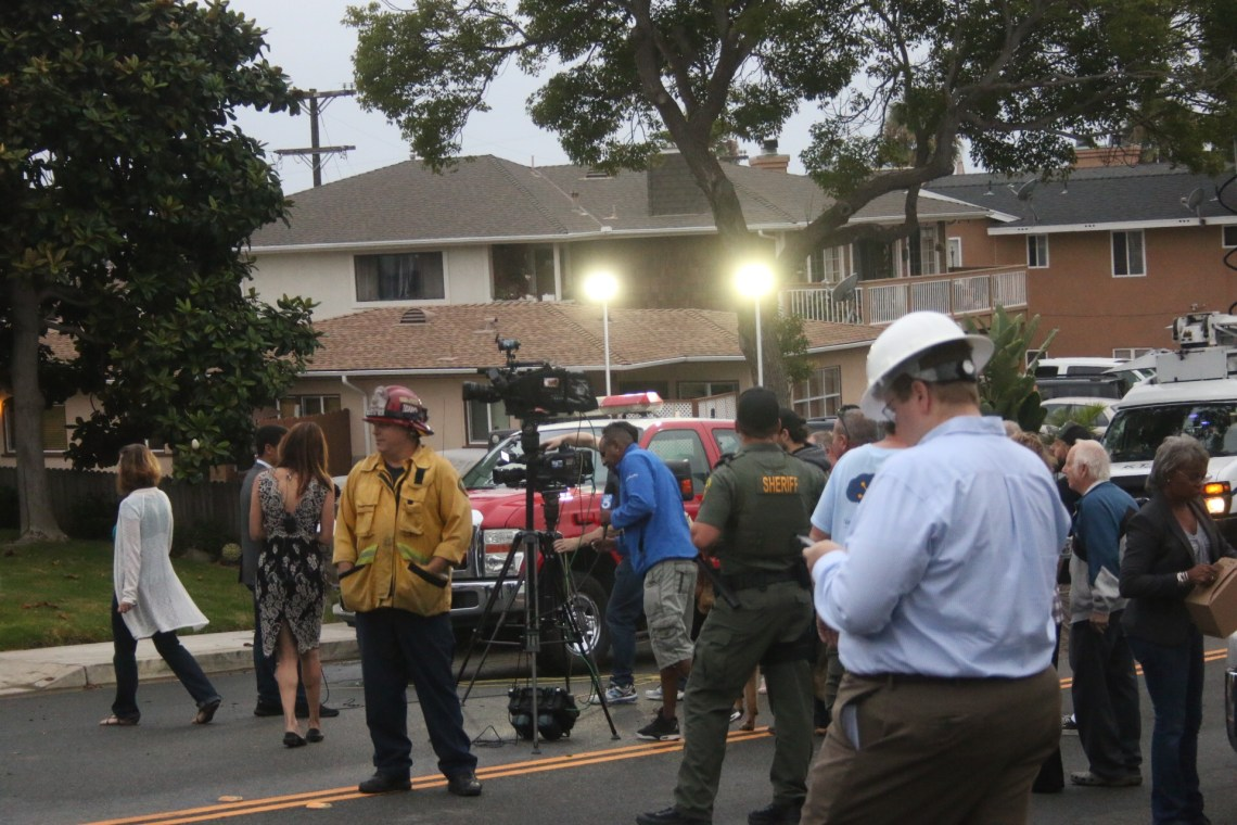 Orange County Fire Authority and Orange County Sheriff's Department oversee the scene of a garage explosion that took place early Thursday morning, Aug. 24, on the 100 block of Avenida Dolores in San Clemente. Photo: Eric Heinz
