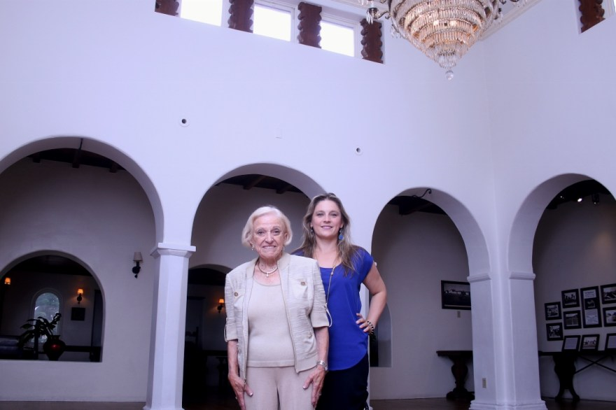 Casa Romantica board director Ruth DeNault, left, and executive director Berenika Schmitz also with the nonprofit's staff, have collaborated to bring hundreds of programs and performances to Casa Romantica over the last four years. Photo: Eric Heinz