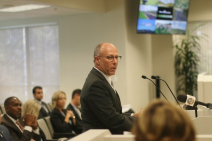 San Clemente City Attorney Scott Smith spoke as a private citizen during the public comment portion of the TCA meeting on Aug. 10. Photo: Eric Heinz