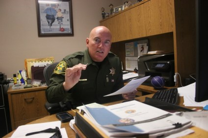 San Clemente Police Services Chief Lt. Mike Peters discusses commercial break-in statistics on Oct. 9. Peters said business owners should take preventative action, such as installing surveillance cameras and burglary alarms, to aid police in apprehending criminals. Photo: File