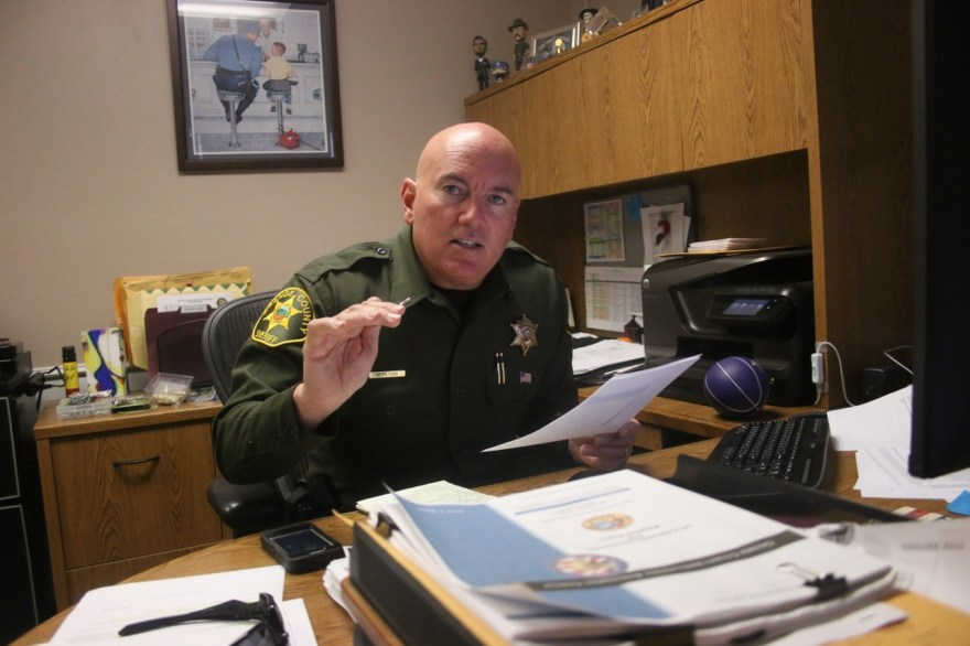 San Clemente Police Services Chief Lt. Mike Peters discusses commercial break-in statistics on Oct. 9. Peters said business owners should take preventative action, such as installing surveillance cameras and burglary alarms, to aid police in apprehending criminals. Photo: Eric Heinz